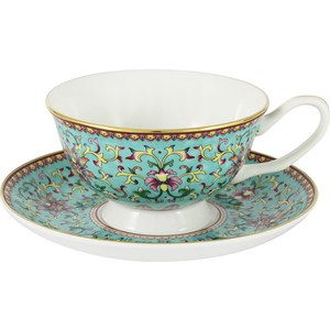 Чашка с блюдцем Anna Lafarg Stechcol Восточный дворец бирюзовая (AL-13861-BLU-CS-ST) чашка с блюдцем colombo золотой замок c2 cs 6962