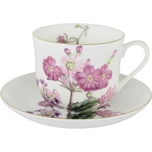 Чашка с блюдцем Anna Lafarg Stechcol Лаура розовые цветы (AL-17821-D-BCS-ST) чайная пара anna lafarg stechcol лаура цвет сиреневый 450 мл 2 предмета