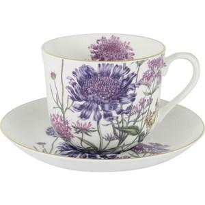 Чашка с блюдцем Anna Lafarg Stechcol Лаура сиреневые цветы (AL-17821-F-BCS-ST) чайная пара anna lafarg stechcol лаура цвет сиреневый 450 мл 2 предмета