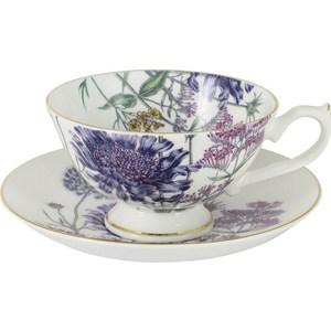 Чашка с блюдцем Anna Lafarg Stechcol Лаура сиреневые цветы (AL-17821-F-TCS-ST) чайная пара anna lafarg stechcol лаура цвет сиреневый 450 мл 2 предмета