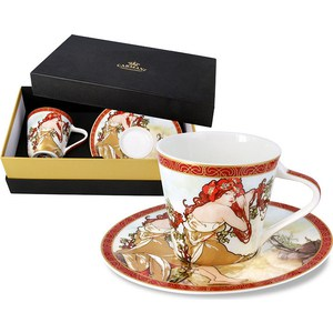 Чашка с блюдцем Carmani Лето А. Муха (CAR2-539-5002) чашка кружка carmani чашка с блюдцем осень а муха car2 539 5003