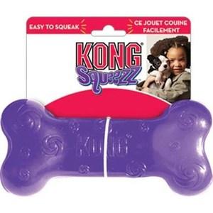 Игрушка KONG Squeezz Bone Medium ''Косточка'' средняя 15см резиновая с пищалкой для собак