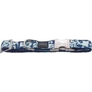 Ошейник Hunter Collar Krazy Baroque ALU-Strong S/15 (30-45см) нейлон с металлической застежкой синий с рисунком для собак