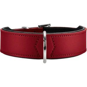 Ошейник Hunter Collar Basic 65 nickel (51-58,5 см) кожа красный/черный для собак