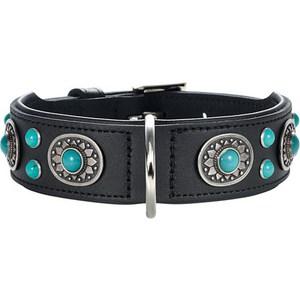 Ошейник Hunter Collar Sioux 55 nickel-plated (41-49см) кожа черный фурнитура с имитацией бирюзы для собак цена и фото