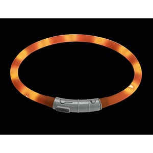 Шнурок Hunter LED Silicon Dog Tube Yukon 20-70 см оранжевый светящийся на шею для собак