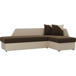 Угловой диван АртМебель Андора микровельвет коричнево/бежевый правый угловой диван артмебель андора ткань левый
