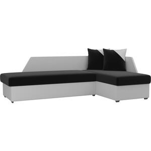 Угловой диван АртМебель Андора микровельвет черно/белый правый угловой диван артмебель андора микровельвет бежево коричневый правый
