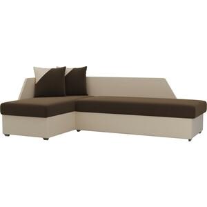 Угловой диван АртМебель Андора микровельвет коричнево/бежевый левый угловой диван артмебель андора ткань левый