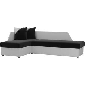 Угловой диван АртМебель Андора микровельвет черно/белый левый угловой диван артмебель андора ткань левый