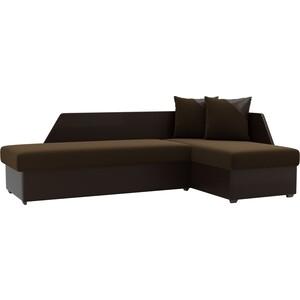 Угловой диван АртМебель Андора микровельвет коричневый правый угловой диван артмебель андора микровельвет бежево коричневый левый