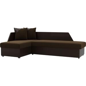 Угловой диван АртМебель Андора микровельвет коричневый левый угловой диван артмебель андора ткань левый