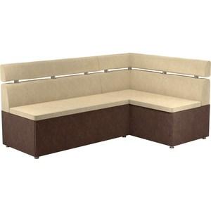 Кухонный угловой диван АртМебель Классик микровельвет бежево/коричневый правый диван угловой артмебель атланта микровельвет коричневый правый