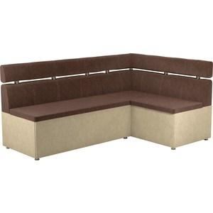 Кухонный угловой диван АртМебель Классик микровельвет коричнево/бежевый правый кухонный диван артмебель классик эко кожа коричнево бежевый