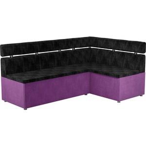 Кухонный угловой диван АртМебель Классик микровельвет черно/фиолетовый правый кухонный угловой диван классик правый