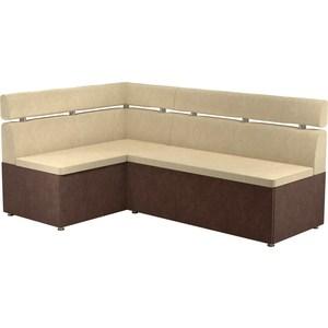 Кухонный угловой диван АртМебель Классик микровельвет бежево/коричневый левый диван артмебель еврокнижка классик микровельвет коричневый