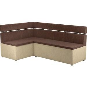 Кухонный угловой диван АртМебель Классик микровельвет коричнево/бежевый левый кухонный диван артмебель классик эко кожа коричнево бежевый
