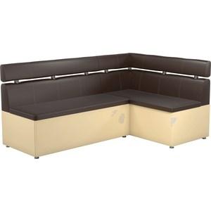 Кухонный угловой диван АртМебель Классик эко-кожа коричнево/бежевый правый кухонный угловой диван артмебель классик эко кожа бело черный правый