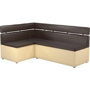 Кухонный угловой диван АртМебель Классик эко-кожа коричнево/бежевый левый кухонный диван артмебель классик эко кожа коричнево бежевый