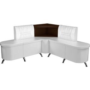 Кухонный угловой диван АртМебель Лиза эко-кожа белый правый