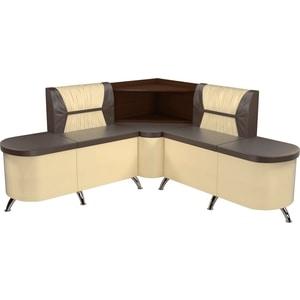 Кухонный угловой диван АртМебель Лиза эко-кожа коричнево/бежевый правый