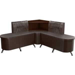 Кухонный угловой диван АртМебель Лиза эко-кожа коричневый правый