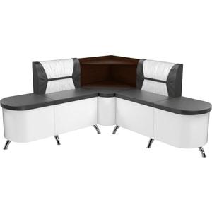 Кухонный угловой диван АртМебель Лиза эко-кожа черно/белый правый