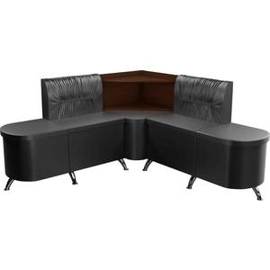 Кухонный угловой диван АртМебель Лиза эко-кожа черный правый кухонный диван артмебель лина эко кожа черный
