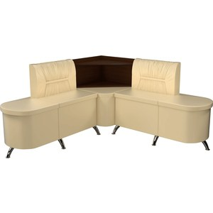 Кухонный угловой диван АртМебель Лиза эко-кожа бежевый левый диван угловой артмебель даллас эко кожа бежевый левый