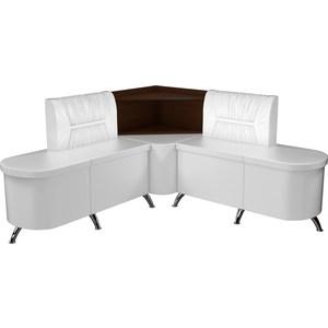Кухонный угловой диван АртМебель Лиза эко-кожа белый левый угловой диван артмебель андора ткань правый