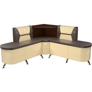 Кухонный угловой диван АртМебель Лиза эко-кожа коричнево/бежевый левый кухонный диван артмебель классик эко кожа коричнево бежевый