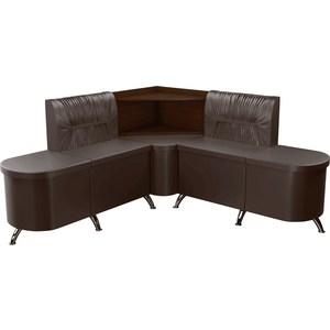 Кухонный угловой диван АртМебель Лиза эко-кожа коричневый левый