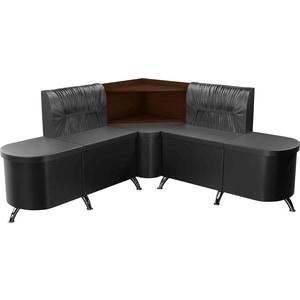 Кухонный угловой диван АртМебель Лиза эко-кожа черный левый кухонный диван артмебель лина эко кожа черный