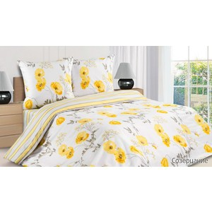 комплект постельного белья ecotex 2 х сп с резинкой поплин луговые цветы кпрлуговые цветы Комплект постельного белья Ecotex 1, 5 сп, поплин, Созерцание (КП1Созерцание)