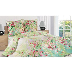 Комплект постельного белья Ecotex Евро с резинкой, поплин, Манон (КПРЕМанон)