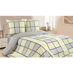 Комплект постельного белья Ecotex Евро с резинкой, поплин, Окси (КПРЕОкси)