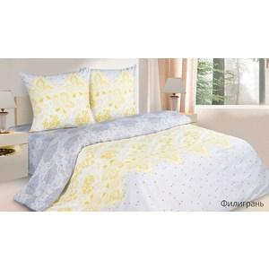 Комплект постельного белья Ecotex Евро с резинкой, поплин, Филигрань (КПРЕФилигрань)