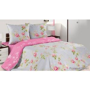 Комплект постельного белья Ecotex Евро, поплин, Розовый букет (КПЕРозовый букет)