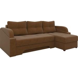 Угловой диван АртМебель Панда микровельет коричневый правый