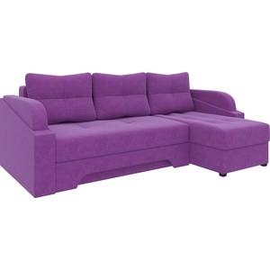 Угловой диван АртМебель Панда микровельет фиолетовый правый