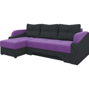 Угловой диван АртМебель Панда микровельет фиолетово/черный левый