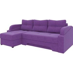 Угловой диван АртМебель Панда микровельет фиолетовый левый угловой диван артмебель андора ткань левый