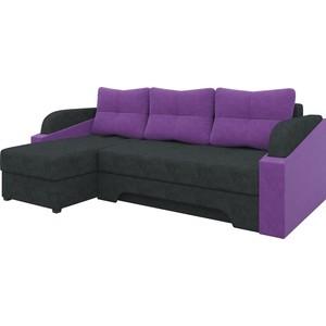 Угловой диван АртМебель Панда микровельет черно/фиолетовый левый угловой диван артмебель андора ткань левый