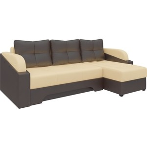 Угловой диван АртМебель Панда эко-кожа бежево/коричневый правый