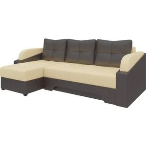 Угловой диван АртМебель Панда эко-кожа бежево/коричневый левый