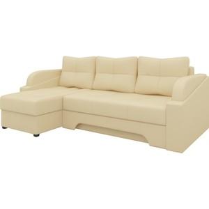 Угловой диван АртМебель Панда эко-кожа бежевый левый диван угловой артмебель даллас эко кожа бежевый левый