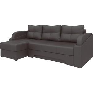 Угловой диван АртМебель Панда эко-кожа коричневый левый угловой диван артмебель андора ткань левый