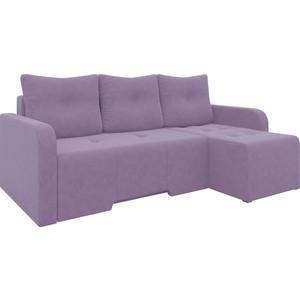 Угловой диван АртМебель Манхеттен микровельвет фиолетовый правый