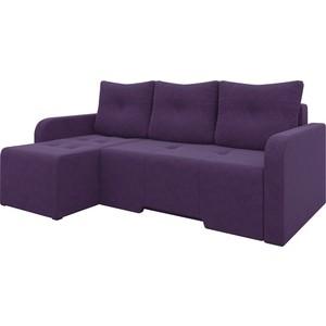 Угловой диван АртМебель Манхеттен микровельвет фиолетовый левый