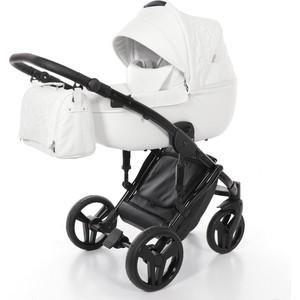 Детская коляска 2 в 1 Junama ENZO JME-01 (белая кожа/черная рама) детская коляска 2 в 1 junama diamond jd 04 бежевый черный короб